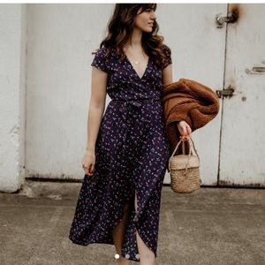 & Other Stories Womens Midi Wrap Floral Dress